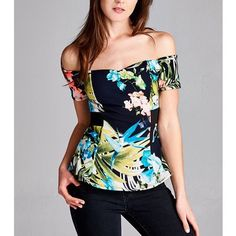 """September Is"" Peplum Floral Off Shoulder Top Off-shoulder peplum floral top. Available in black, navy and mint. This listing is for the BLACK. Brand new. True to size. NO TRADES DON'T ASK. PRICE FIRM. Bare Anthology Tops Blouses"