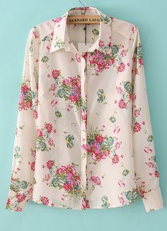 Pink Lapel Long Sleeve Floral Chiffon Blouse - Sheinside.com