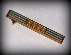 Art Deco 10 K gold overlay seed pearl enamel bar by AVINTAGEVAULT, $50.00