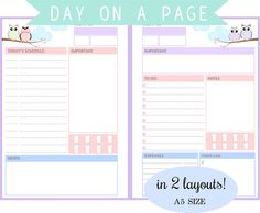 Filofax A5  Day On A Page in 2 Layouts To do list von Stationera