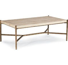 Cachet - Cocktail Table with Travertine Top & metal legs $429