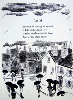 """""""Rain"""" - From """"A Child's Garden of Verses"""" by Robert Louis Stevenson, 1944 edition illustrated by Roger Duvoisin Roger Duvoisin, Pomes, Kids Poems, Book Of Kells, Children's Book Illustration, Book Illustrations, Nursery Rhymes, Childrens Books, Poetry"""