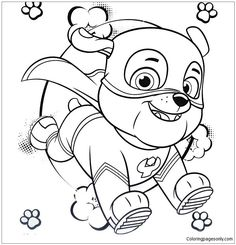 Super Hero Rubble Paw Patrol Coloring Page - Free Coloring Pages Online Paw Patrol Coloring Pages, Flag Coloring Pages, Printable Coloring Pages, Adult Coloring Pages, Coloring Books, Rubble Paw Patrol, Paw Patrol Party, Paw Patrol Birthday, Sea Patrol