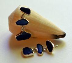 Bezel Set Blue Sea Glass Earrings