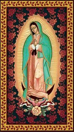 """Virgen Tecoatlasupe (Guadalupe)  En lengua náhuatl: """"La que pisa la cabeza de la serpiente""""."""