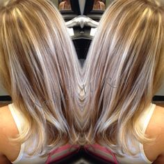 Full Beige Blonde Highlights and Light Golden Brown Lowlights.