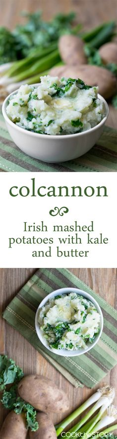 Colcannon: A simple Irish dish of mashed potatoes, kale, green onions and butter. A delicious way to celebrate St. Patrick's Day Potato Dishes, Potato Recipes, Vegetarian Recipes, Cooking Recipes, Healthy Recipes, Simple Kale Recipes, Entree Recipes, Healthy Cooking, Vegetable Recipes