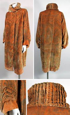 Coat, Maria Monaci Gallenga, ca. 1920s. Apricot silk velvet stenciled with metallic gold floral paisley. Funnel neck collar with hand pleating around the back and draped sleeves. The Way We Wore/1st Dibs