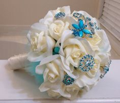 Ivory and Tiffany Teal Rose Brooch Bouquet by BroochBeautiful Wedding 2015, Our Wedding, Dream Wedding, Wedding Shit, Wedding Things, Wedding Stuff, Wedding Crafts, Wedding Decorations, Wedding Bouquets