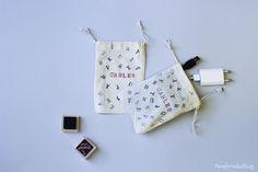 DIY: bolsa estampada de tela / Handmade Stamped cotton bag