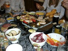 Ordered raclette broke it in tonight (not this picture).  OMGosh, good food and fun.  Salmon, chicken, venison and veggies.  GOTTA have the pickled onions!