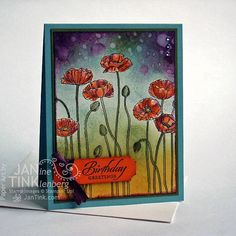 Poppies Floral Happy Birthday Greetings Greeting Card by JanTink