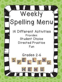 FREE - With this product, you won't need to think about assigning spelling homework for the rest of the year. This menu is applicable to all spelling lists. Students choose activities in order to earn a set amount of weekly points. When students have the ability to choose assignments, learning becomes self-directed and fun!