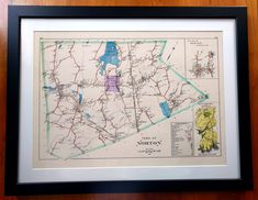 Another nice map we framed this week for a customer of Norton, MA from 1895. There was a large fold mark all the way down the center that our production specialist digitally removed. You'd never know it was there! #map #historical #historic #mapart #wallart #norton #nortonma #massachusetts #decor #decorideas #restoration