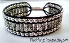Leather Wrap Bead Bracelet Tibetan Silver Cuff Magnetic Closure Custom