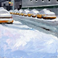 """""""Taxis on 37th Street"""" by Neil Plotkin  I like the 'Wayne Theibaud' snow, all the colors.."""