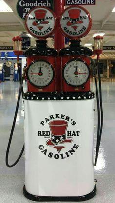 Restored Original Double Clock Faced Tokheim Gas Pump - Red Hat Gasoline