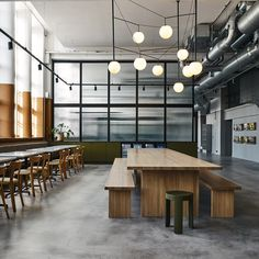located in helsinki, bob the robot's office by joanna laajisto includes materials and design elements that are more common to hospitality than workspaces. Modern Restaurant Design, Architecture Restaurant, Architecture Design, Industrial Office Design, Office Interior Design, Office Interiors, Office Designs, Café Bistro, Bistro Decor