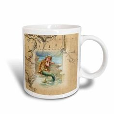 3dRose Print of Vintage Map Outer Banks With Mermaid, Ceramic Mug, 11-ounce