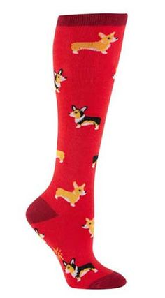 """Corgi"" is Welsh for ""dwarf dog.""  Red knee high socks with cute yellow corgis.  Fits women's shoe size 5-10."