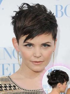 Ginnifer-Goodwin-Messy-Pixie-Hair-Front-and-Back Great Ginnifer Goodwin Pixie Hairstyles Edgy Haircuts, Short Layered Haircuts, Hairstyles Haircuts, Messy Pixie Haircut, Haircut For Thick Hair, Short Haircut, Ginnifer Goodwin, Short Red Hair, Pelo Pixie