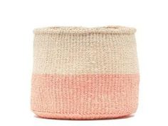 JIONI DUSKY PINK COLOUR BLOCK BASKET By The Basket Room Dreamy dusky pink and natural colour blocking make these pretty storage baskets the ideal addition to any dressing table, bathroom or nursery. Available in three handy sizes, our JIONI woven baskets are also ideal planters and flower pots. Our coloured baskets are hand made by a small Kenyan weaving cooperative of forty ladies, with a dedicated dye manager appointed to oversee colour consistency and quality. We keep this highly skilled… Pot Storage, Storage Baskets, Basket Weaving, Hand Weaving, Woven Baskets, Sisal, Dressing Table Organisation, Colourful Living Room, Color Blocking