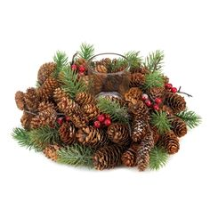 Dress up your holiday table with this merry pine cone wreath candleholder. Sprigs of pine branches, pine cones, and red berries wrap around a clear glass cup that's ready for the candle of your choice