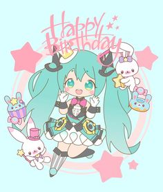 """Today's illustration of the 39 day countdown to Hatsune Miku's anniversary was contributed by mrabbit! """"Hope that Magical Miku… Chica Anime Manga, Kawaii Anime, Anime Art, Disney Drawings, Cartoon Drawings, Hatsune Miku Birthday, Happy Birthday Drawings, Hatsune Miku Project Diva, Vocaloid Characters"""