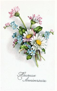ru / Foto # 188 – 9 – - Frohe Ostern an alle! Blue Flowers Bouquet, Pink And Blue Flowers, Pink Blue, Art Floral, Vintage Cards, Vintage Postcards, Vintage Flowers, Vintage Floral, Bunny Painting