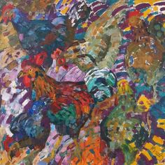 "Saatchi Art Artist Inna Kulagina; Painting, ""Roosters on the Run.."" #art"