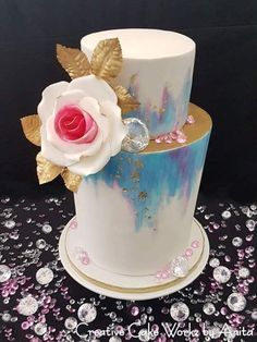 2 Tier Double Barrel White Rose Watercolour Cake inspired by Caking It Up