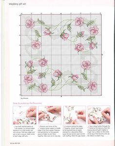 Wedding roses - 3 of 8 Biscornu Cross Stitch, Just Cross Stitch, Cross Stitch Borders, Cross Stitch Flowers, Cross Stitch Charts, Cross Stitch Designs, Cross Stitching, Cross Stitch Embroidery, Embroidery Patterns