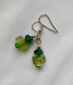 Handmade Earrings Green Triangle Beads and Dark Green Triangle Top Beads A. 2014 Sold