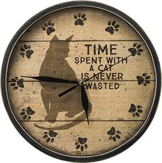 Cat Kitchen Decor --Cat Clock--Primitives by Kathy Time with Cats Clock