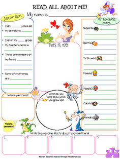 Fairy Tales All About Me Printable