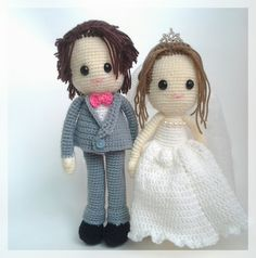 Those dolls are super cute! They would make a perfect wedding gift!! Wedding dolls amigurumi  made to order. by thujashop on Etsy, $65.00