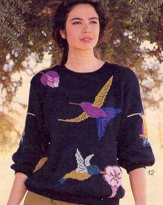 Hummingbird intarsia sweater pattern