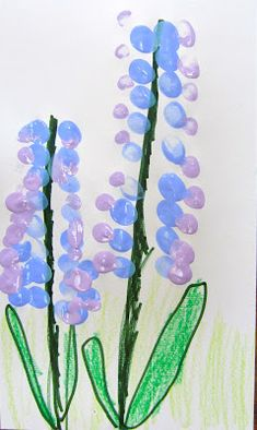 lupines: fingerprint art project for Miss Rumphis book