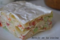 Lasaña de verano I am believing that I can get this translated. It looks coll and refreshing for summer! Best Vegetarian Recipes, Veggie Recipes, Seafood Recipes, Healthy Recipes, Frozen Steak, Pasta Noodles, Fish Dishes, Pasta Dishes, Food Humor
