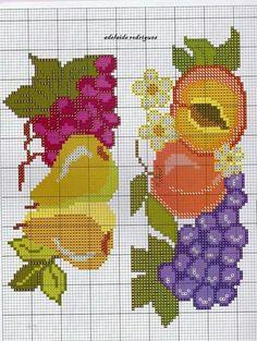 Cross Stitch Fruit, Cross Stitch Kitchen, Cross Stitch Borders, Cross Stitch Flowers, Cross Stitch Designs, Cross Stitching, Cross Stitch Patterns, Embroidery Patterns Free, Diy Embroidery