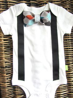 Baby Bow Tie and Suspenders Onesie Baby Black by SewLovedBaby, $15.99