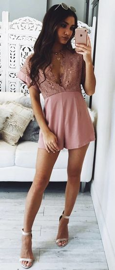#fall #outfits women's pink v-neck cap sleeve rompers