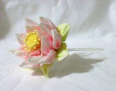 elegant pink lotus flower - kanzashi hair pin