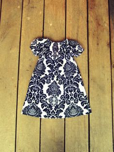 Custom Hand Smocked damask peasant dress - Idea for Inara's Christmas dress. It will be a cute tunic come spring/ summer