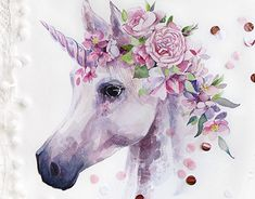 Watercolor Unicorn with floral set and custom-made patterns. Unicorn Wall Art, Unicorn Painting, Unicorn Drawing, Unicorn And Fairies, Unicorn Fantasy, Unicorns And Mermaids, Watercolor Illustration, Watercolor Paintings, Animal Drawings