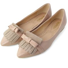 Tassels Bow Pointed Flat Shoes in Nude Pink ($47) via Polyvore