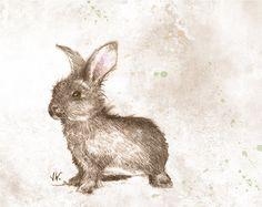 Happy Bunny. Rabbit. Hare. Fine Art Print from my Original Drawing. Woodland Animal via Etsy