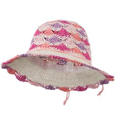 Girl's Scallop Designed Hat - White Pink