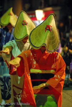 Japanese dance: Owara-Kazenobon.Traditional Japanese dance. Toyama