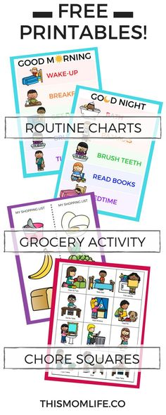 Free printable routine charts and chore charts for kids. Morning, Night, Toddler, Bedtime, After School, Daily, Evening. #parentingtipsbedtimeroutines